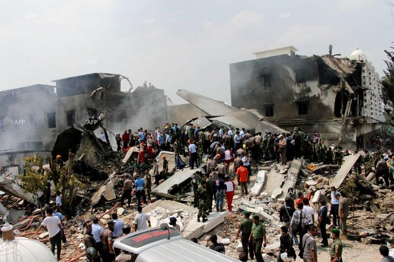 An Indonesian air force transport plane crashed into a residential area of Medan, a city on the island of Sumatra.
