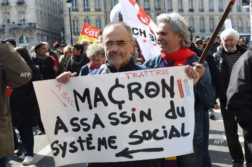 Protests in France against reforms of President Emmanuel Macron. March 22, 2018;