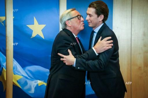 Jean-Claude Juncker welcomes leader of Austrian Peoples Party, Sebastian Kurz, at EU summit. October 19, 2017;