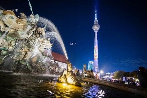 Celebration of Festival of Lights in Berlin. October 14, 2019