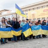 Protest rally held in front of Russia consulate in Ukraine's Kharkov