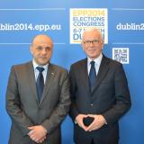 Hans-Gert Pottering wishes Bulgaria MP Tomislav Donchev luch at EU elections