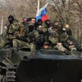 Russian flags on armoured vehicles in Kramatorsk and Slavyansk used to mislead