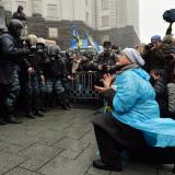 Hundreds of special police officers arrive at Independence Square in Kiev