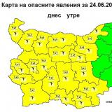 NIMH: Code Yellow warning for rain and thunderstorms in place for 19 regions in Bulgaria