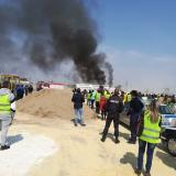 Hauliers set fire to truck to protest against Macron Package