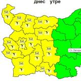 Picture: НИМХNIMH: Code Yellow warning for rain and thunder in place for 13 Bulgarian regions