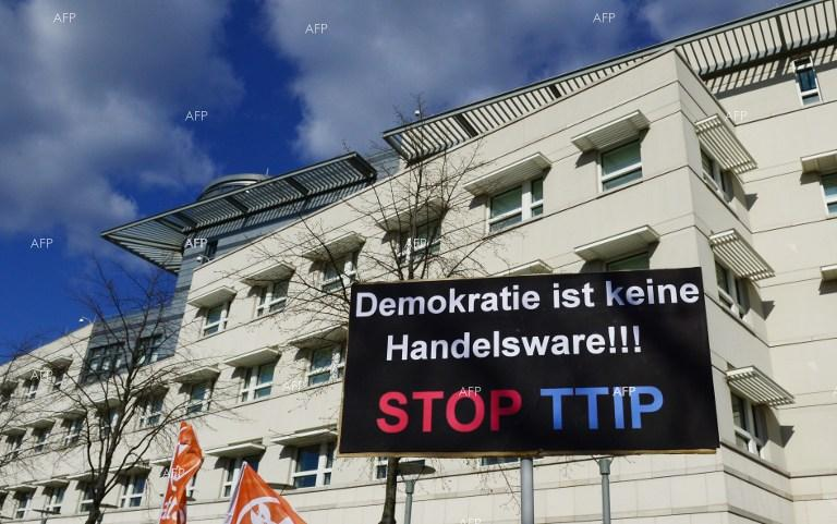 Europeans protest against EU-USA trade agreement.