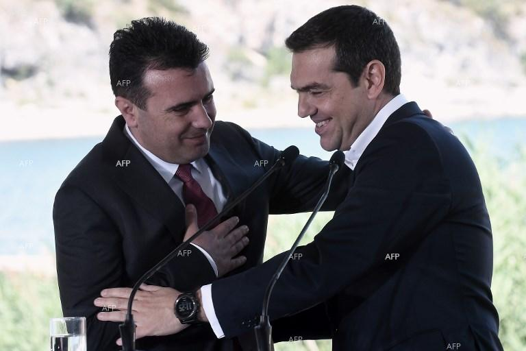 Zoran Zaev and Alexis Tsipras after signing name accord in Psarades. June 17, 2018;