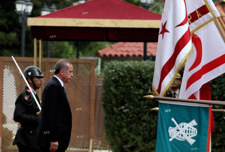 "Nicosia and Athens condemn the visit of Turkish President Erdogan to breakaway northern Cyprus as ""illegal""."