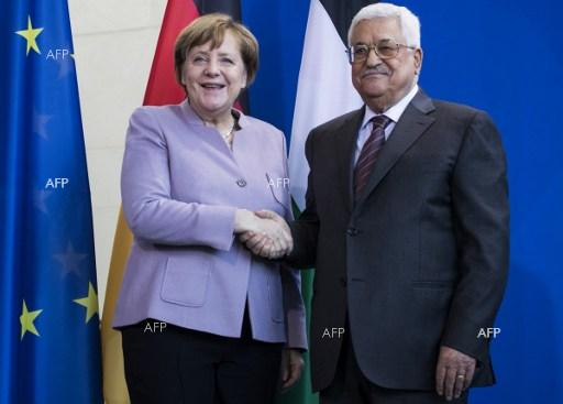 German Chancellor Angela Merkel and Mahmoud Abbas, President of the Palestinian National Authority in Berlin, on March 24, 2017.