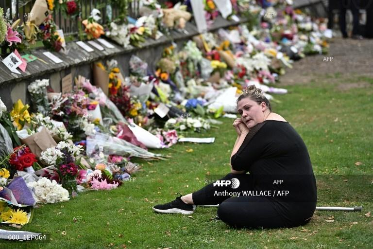 Flowers in memory of those killed in the mosque attacks in Christchurch, New Zealand . March 16, 2019;