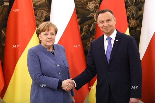 German Chancellor Angela Merkel arrived on a visit to Poland and was received by President Andrzej Duda. March 19, 2018;