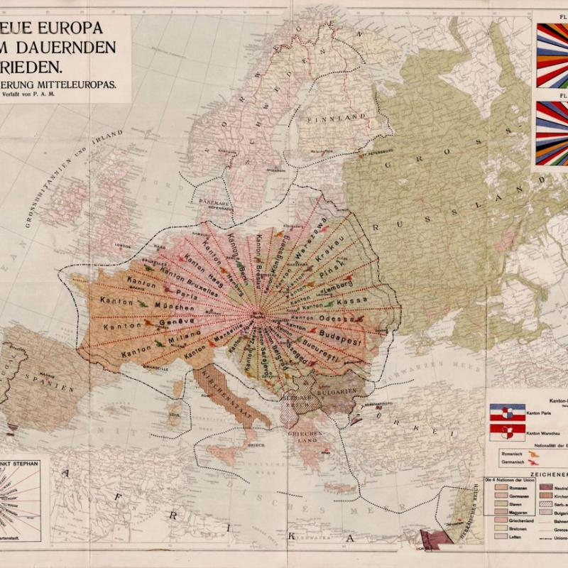 Map of a United Europe of 1920 with Vienna as the centre. November 11, 2019