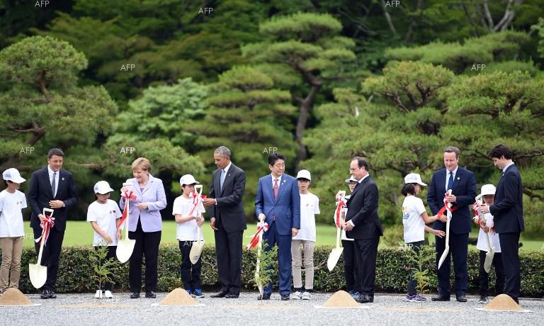 G7 Summit in Japan. Planting of trees.