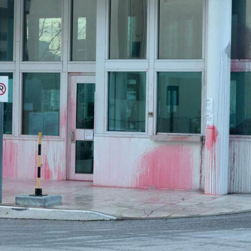 Anarchists hurled red paint at the US embassy in Greece. January 7, 2019;