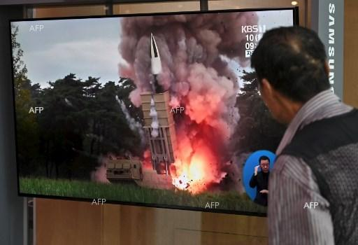 South Korean watches footage of a North Korean missile launch towards the sea. September 10, 2019