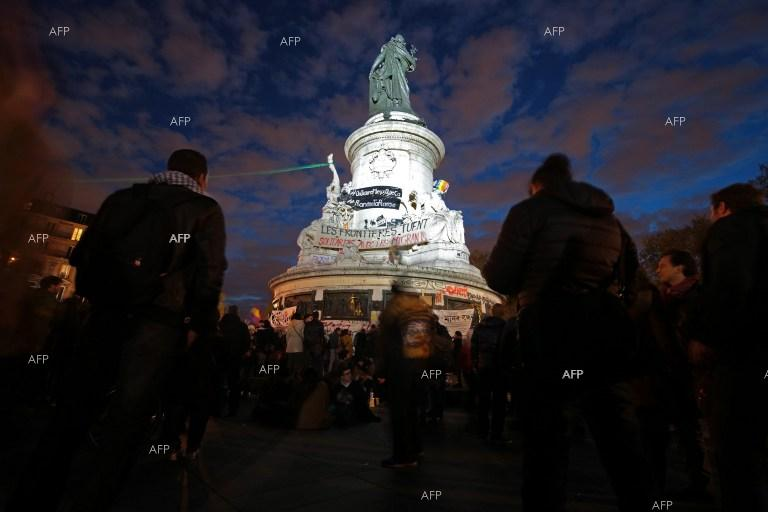 Protesters and police clashed at the Place de la Republique in Paris.