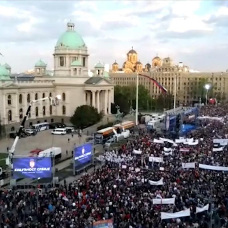 АFP: Thousands rally in support of Serbian president