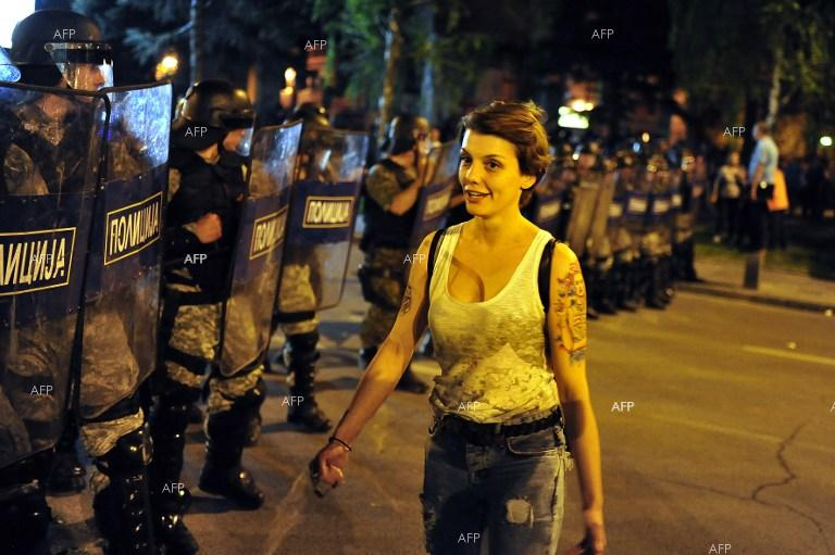 Anti-government protest in Skopje turned into clashes with police