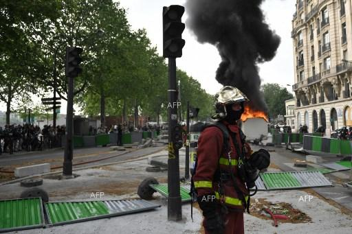 Demonstrations in Paris on Labour Day. May 1, 2019