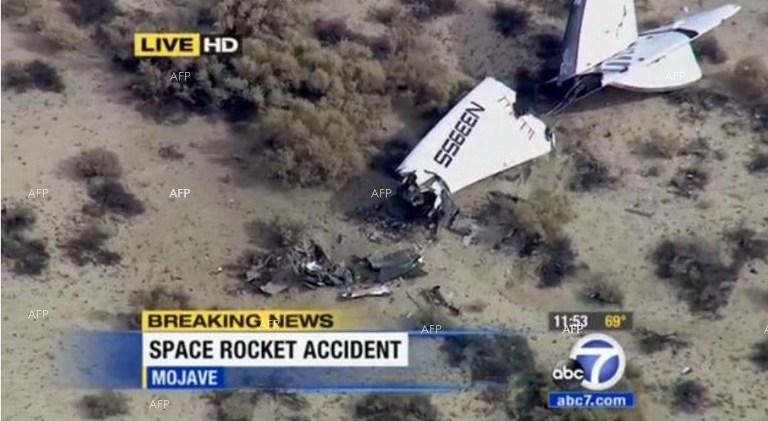 Virgin Galactic SpaceShipTwo Crashes during test flight over California.