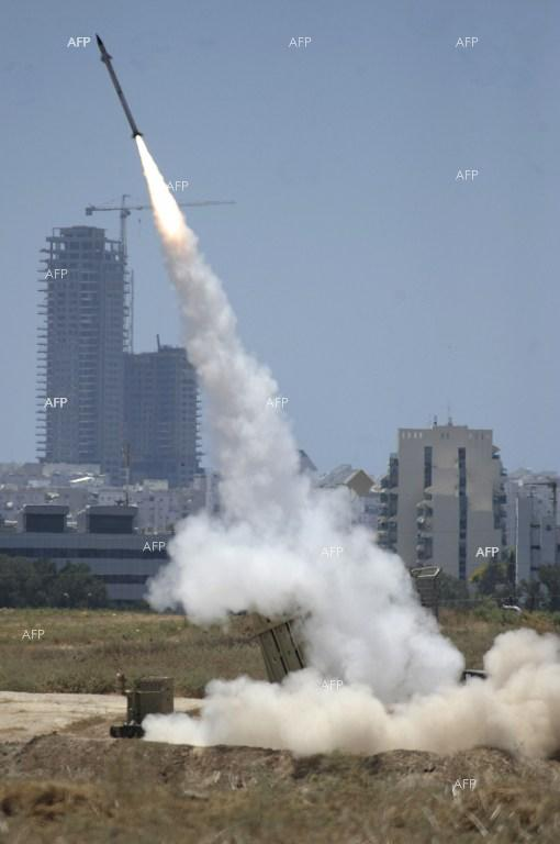 Israel destroys Palestinians rockets through the Iron Dome missile defence system.