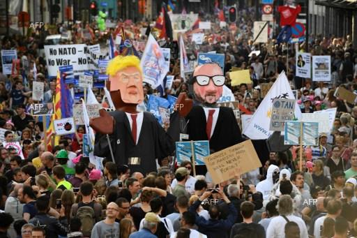 US President Donald Trump and upcoming NATO Summit met with protests in Brussels. May 25, 2017