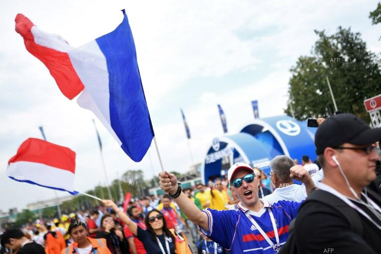 French fans celebrate the win for their country at the World Cup in Russia. July 15, 2018;