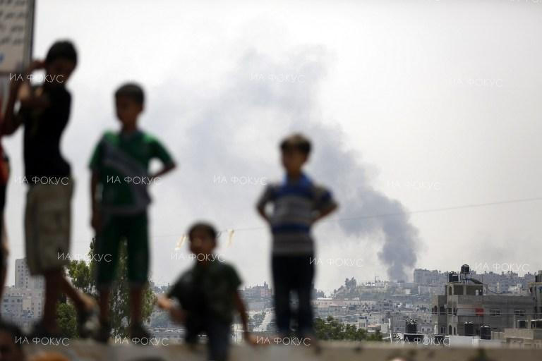 Curls of smoke above the Gaza Strip after Israeli aistrikes.