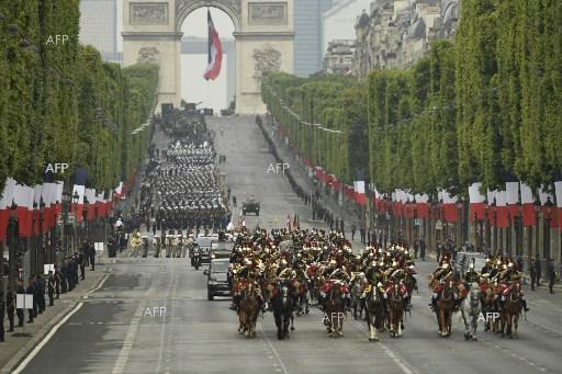 Bastille Day military parade in Paris, France. July 14, 2019