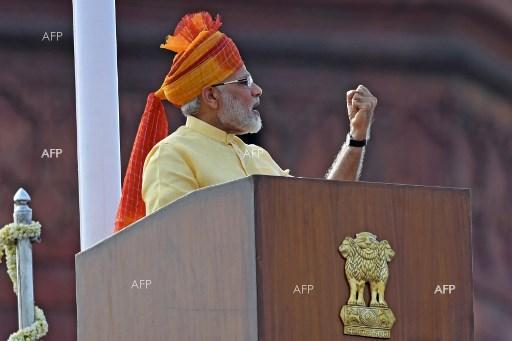 Indian Prime Minister Narendra Modi gives a speech on national Independence Day - August 15, 2017;