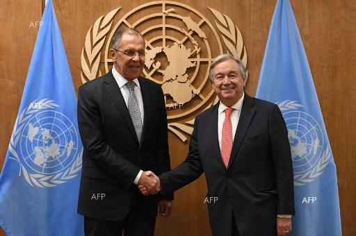 Sergey Lavrov and Antonio Guterres at 72nd UN General Assembly. September 22, 2017;