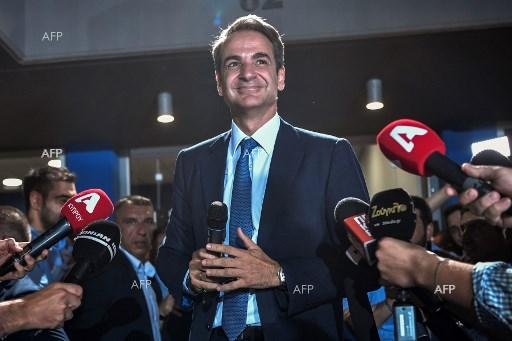 Kyriakos Mitsotakis, leader of New Democracy, after his election victory. 8 July 2019;