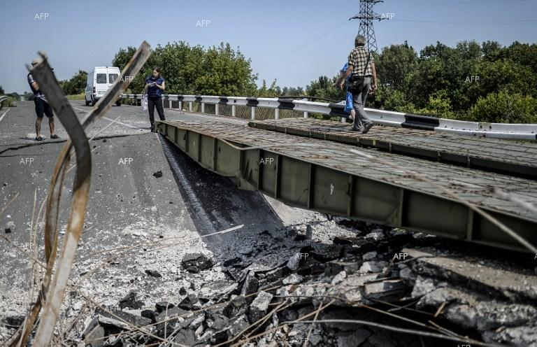 Damaged road in Donetsk, Ukraine.