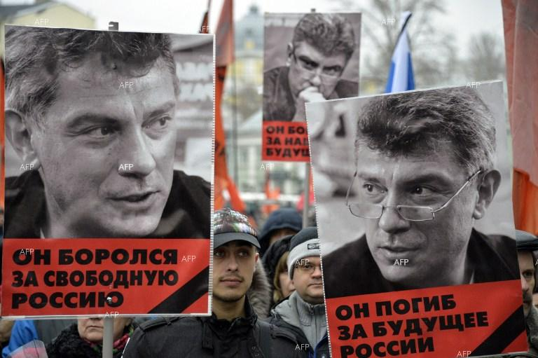 People in Moscow gather for the beginning of a march in memory of opposition leader Boris Nemtsov.