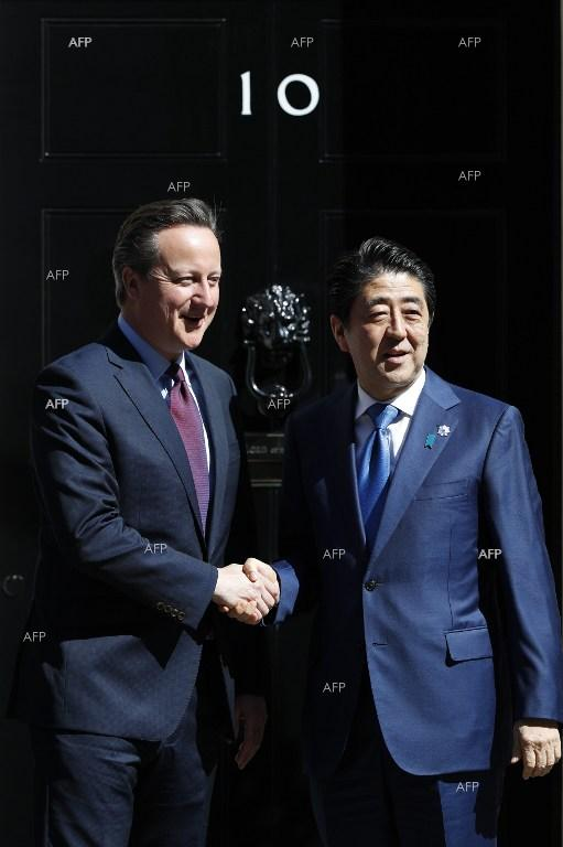 British PM David Cameron meets with Japanese counterpart Shinzo Abe, who is on a visit to London.