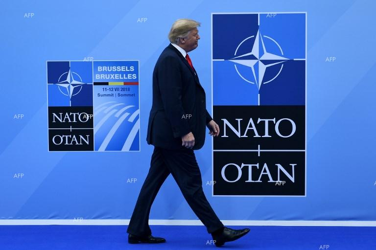 Donald Trump arrives at the NATO summit in Brussels. July 12, 2018;