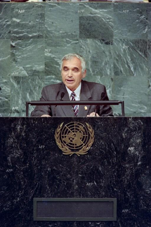October 24, 1995 - Bulgarian president Zhelyu Zhelev speaking at the United Nations headquarters in New York.