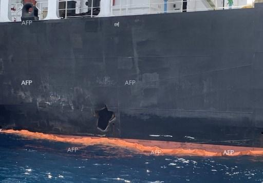 A hole in the Japanese tanker attacked in the Gulf of Oman. June 19, 2019
