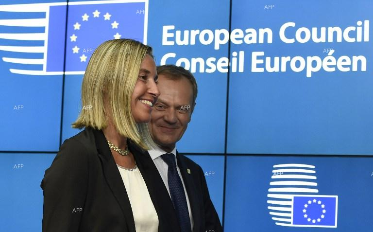 Donald Tusk and Federica Mogherini. August 30, 2014