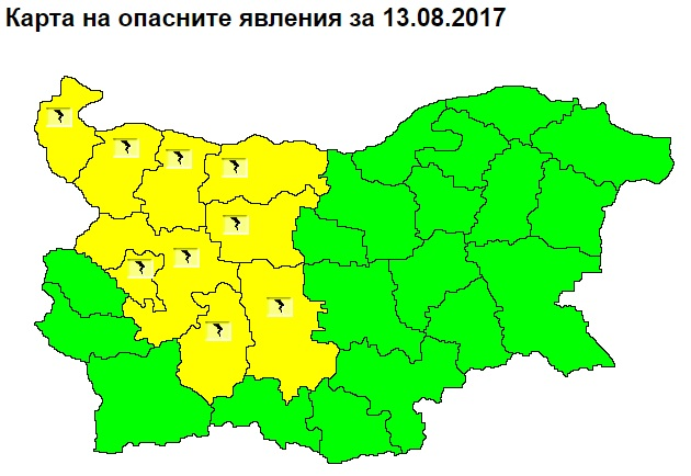 NIMH: A yellow code for the danger of hailstorms and thunderstorms is in force for 9 regions of the country