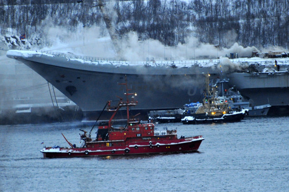 Fire breaks out on Russian Admiral Kuznetsov aircraft carrier. December 12, 2019