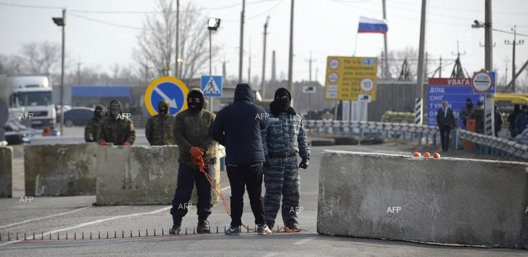OSCE observers stopped from entering Crimea at a checkpoint near the village of Chongar. March 7, 2014.