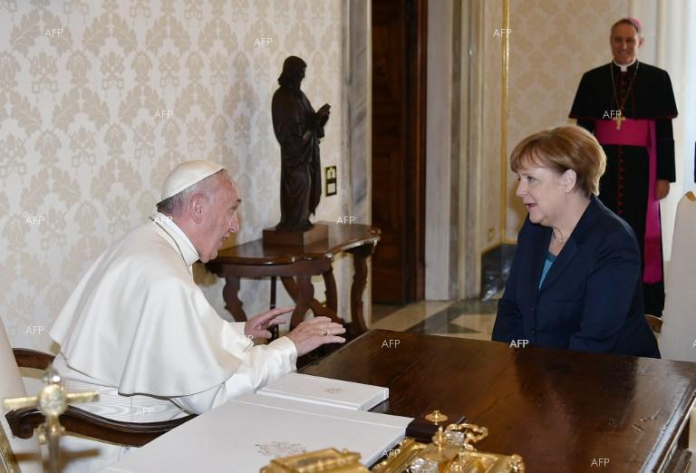 Pope Francis met German Chancellor Angela Merkel on Friday