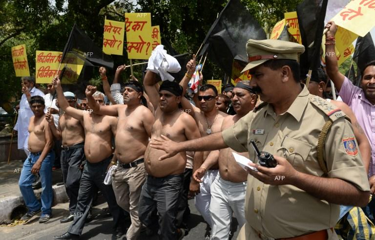Taxi drivers in India staged protest.