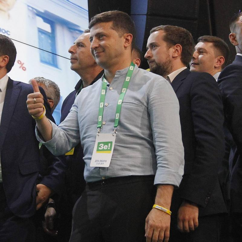 Vladimir Zelensky at his Servant of the People party&#8217s headquarters after winning snap elections in Ukraine. July 22, 2019