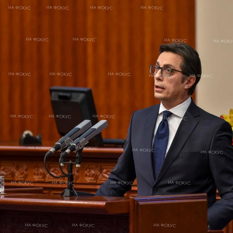 Stevo Pendarovski, President of Northern Macedonia, delivers his first annual speech to parliament. December 18, 2019