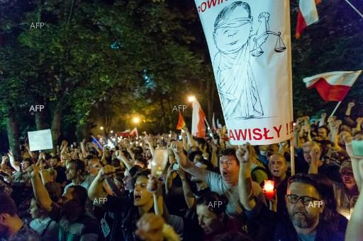 Demonstrators gathered in front of Polish Parliament to protest against new laws changing judicial system, July 22, 2017;