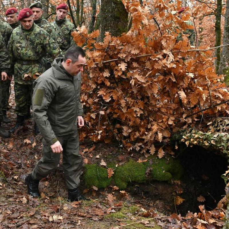 Serbian Defence Minister Aleksandar Vulin at a training of reservists. March 7, 2019;